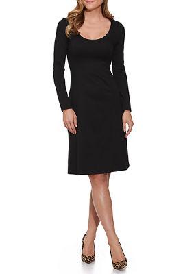 Proper ponté long sleeve fit-and-flare dress