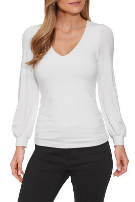 Blouson Sleeve V-Neck Top