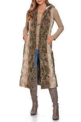 hooded faux-fur vest