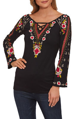 embroidered detail keyhole top