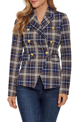 Shimmer Plaid Double-Breasted Jacket