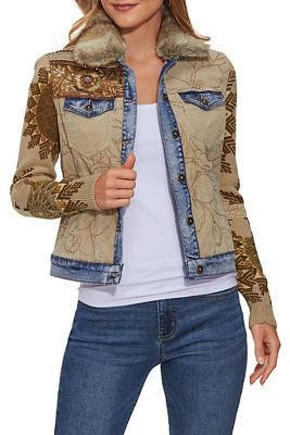Embellished Faux Fur Collar Jacket