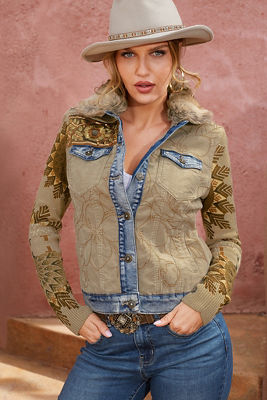 Embellished Faux Fur Collar Jacket