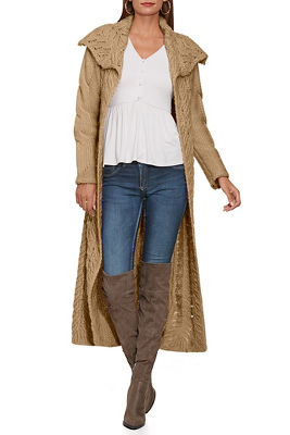 Cable Detail Duster Sweater