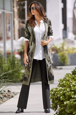 Camo Long-Sleeve Duster