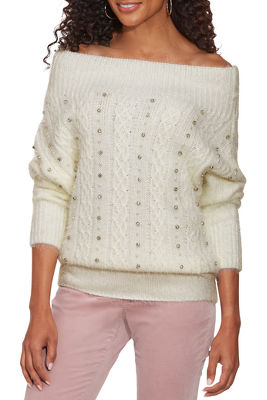 Cozy Embellished Cable Sweater