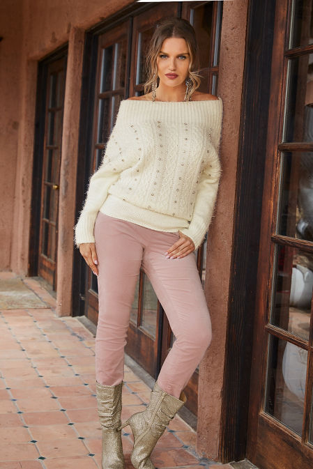 Cozy Embellished Cable Sweater image