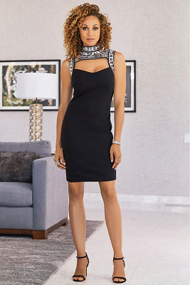 Cutout Embellished Mock Neck Sheath Dress