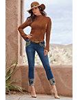 Ribbed Mock Neck Lace-up Sleeve Sweater Photo