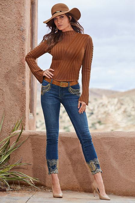 Ribbed Mock Neck Lace-Up Sleeve Sweater image