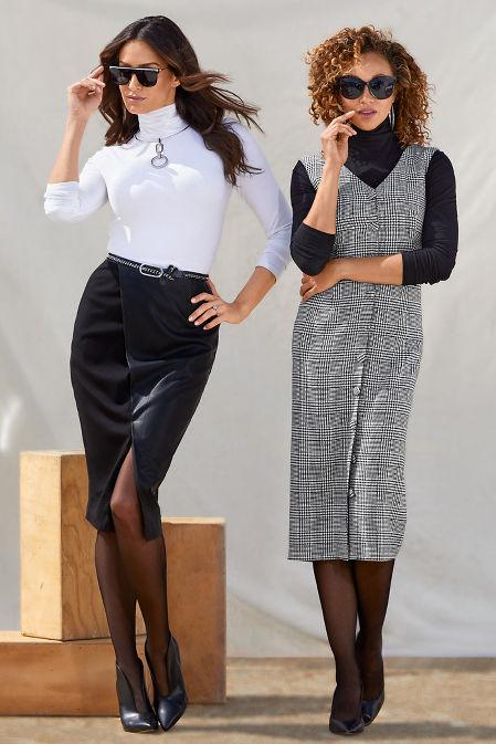 Vegan Leather and Ponté Skirt image