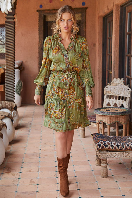 Button Paisley Printed Dress image