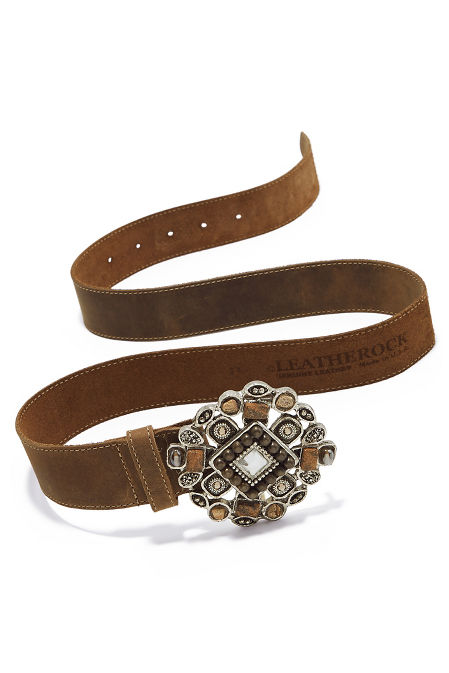 Taupe Stone Buckle Belt image