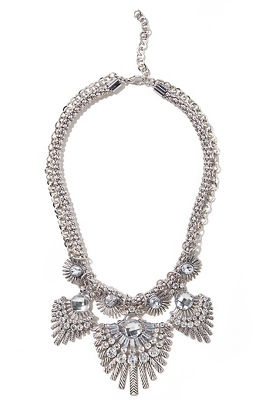 rhinestone fan statement necklace