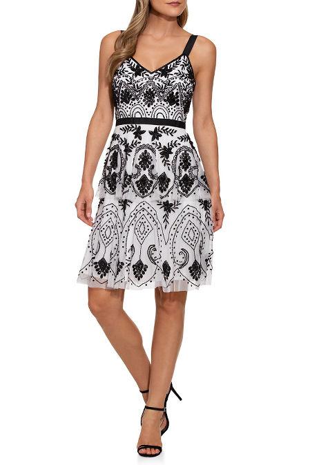Beaded sleeveless tiered dress image
