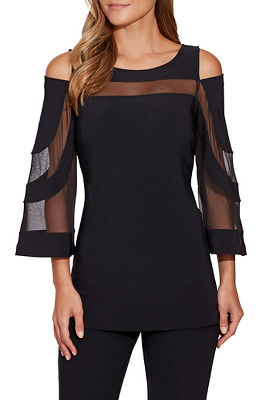 beyond travel™ mesh cold-shoulder top