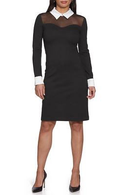 Collared Long-Sleeve Illusion Dress