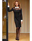 Collared Long-sleeve Illusion Dress Photo