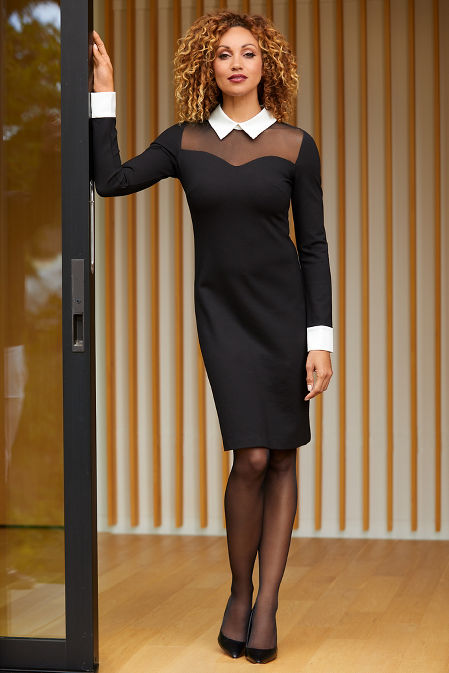 Collared Long-Sleeve Illusion Dress image