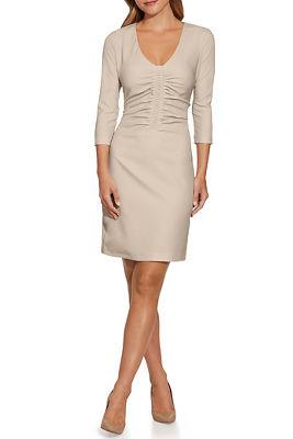 Three-Quarter Sleeve Ruched V-Neck Dress