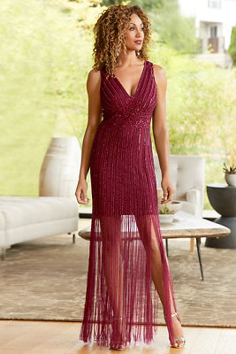 Beaded Fringe Gown
