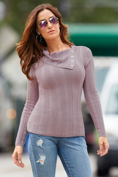 Fold-Over Cable Sweater image