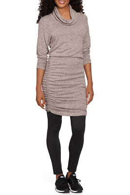 cowl-neck sweater dress