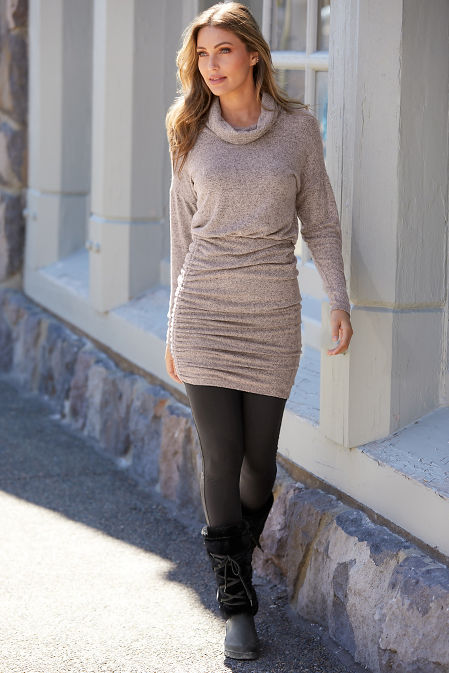Cowl-Neck Sweater Dress image