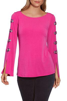 Embellished Detail Flare-Sleeve Top
