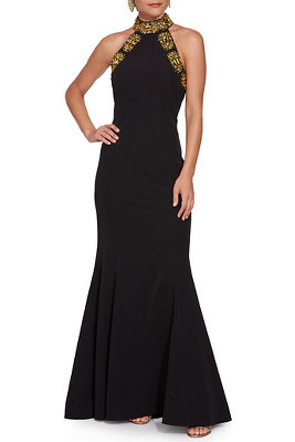 Embellished High-Neck Gown