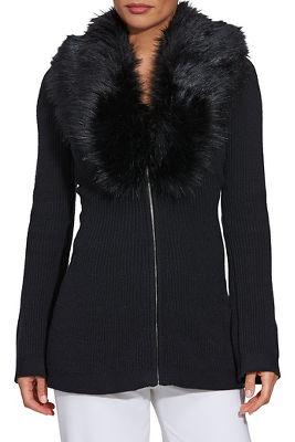 Faux-Fur Trim A-Line Cardigan