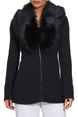 faux-fur trim a-line cardigan