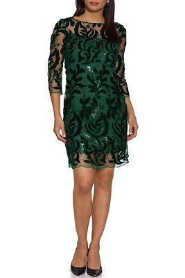 Illusion Sequin Velvet Dress
