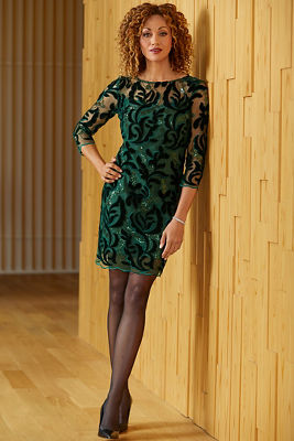 Illusion Sequin Velvet Dress