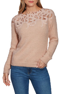 Lace Plush Long-Sleeve Sweater
