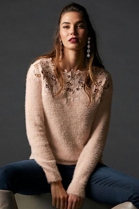 Lace Plush Long-Sleeve Sweater image
