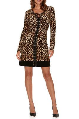 Leopard Velour Lace-Up Dress