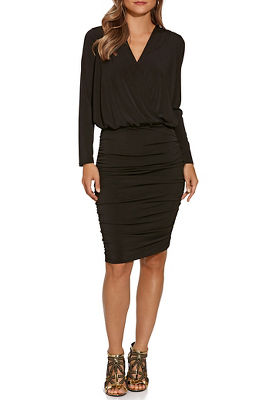 Long-Sleeve Blouson V-Neck Ruched Dress