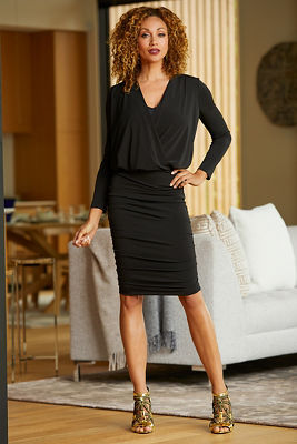Long-Sleeve Blouson V-Neck Ruched Dress