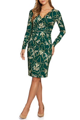 Long-Sleeve Printed Sheath Dress