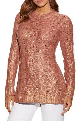 metallic shine cable sweater