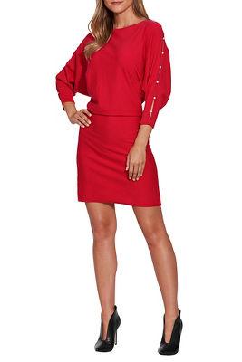 Pearl Trim Sleeve Sweater Dress