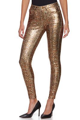 Metallic Animal Five Pocket Ankle Jean