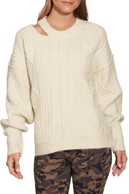 Cutout Neckline Cable Sweater