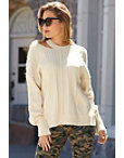 Cutout Neckline Cable Sweater Photo