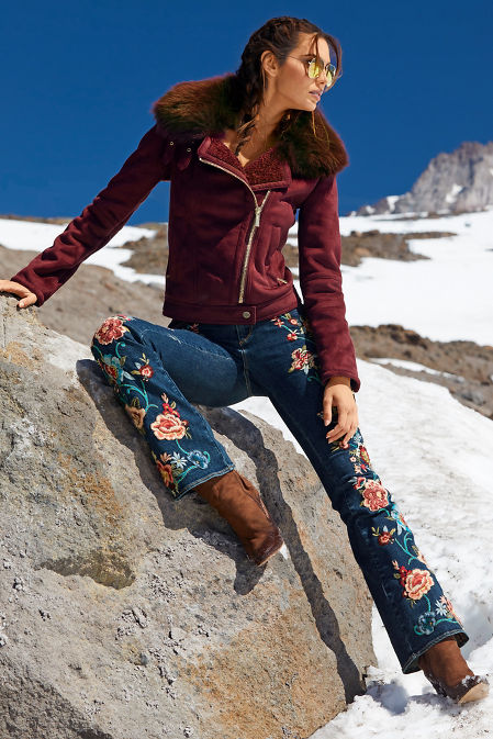 Embroidered Floral Flare Jean image