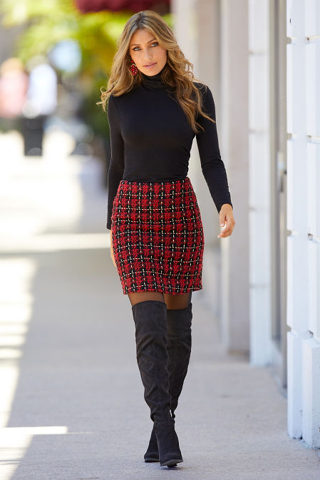Plaid Above-the-Knee Skirt image