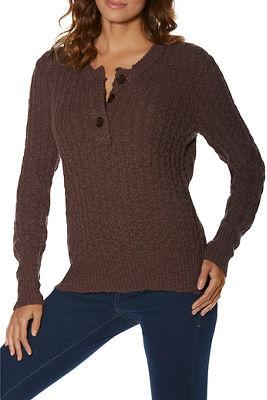 Henley Textured Long-Sleeve Sweater
