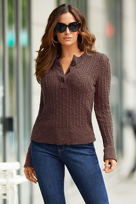 Henley Textured Long-Sleeve Sweater