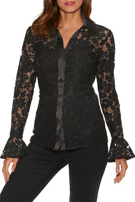 Lace Flare-Sleeve Shirt